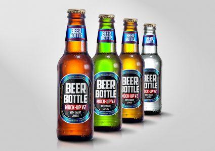 Мокап бутылок пива