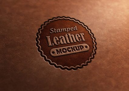 Мокап логотипа Leather Stamp