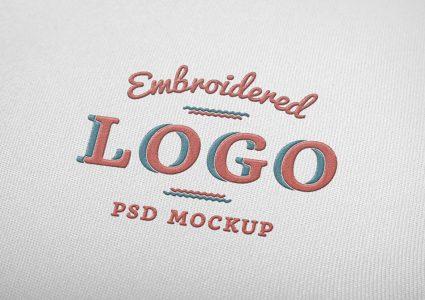 Мокап логотипа под вышивку