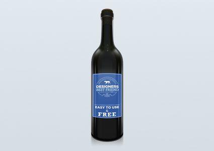 Мокап бутылки вина