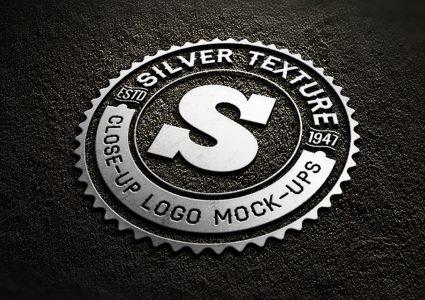 Мокап металлического логотипа