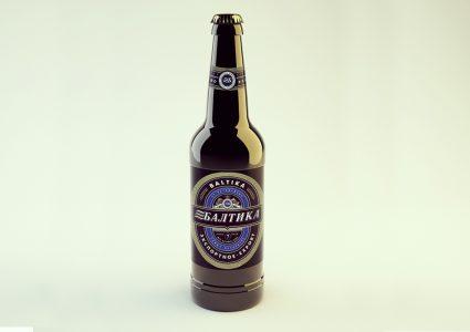 Мокап бутылки пива Балтика