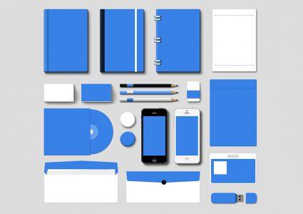 Мокап фирменного стиля в голубых тонах