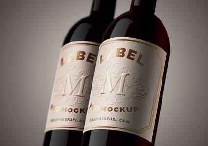 Мокап бутылок вина