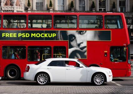 Мокап лондонского автобуса