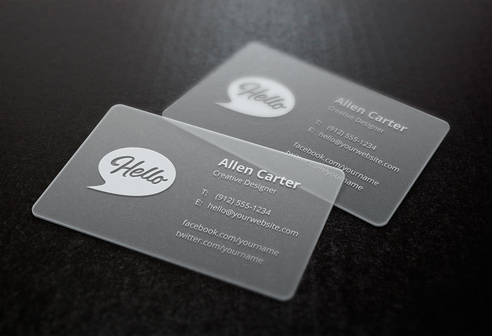 Мокап прозрачных визиток
