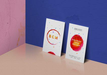 Мокап цветной визитки