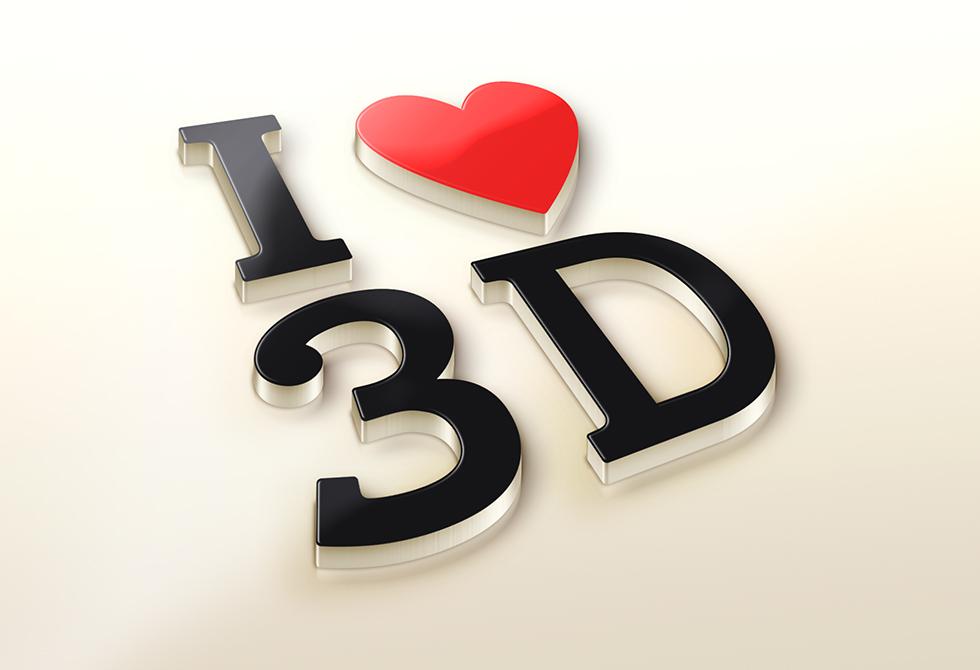 I Love 3D logo Mock-Up