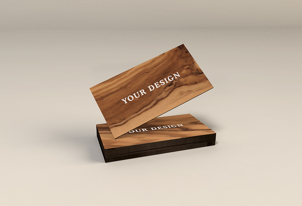Wooden Business Cards MockUp