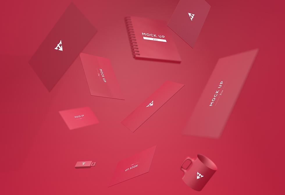 Мокап красных визиток