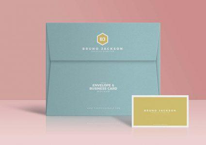 Мокап конверта и визитки