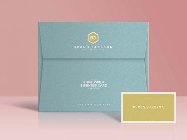 Free Envelope & Business Card Mockup PSD