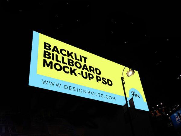 Мокап рекламного щита с подсветкой в ночном видении