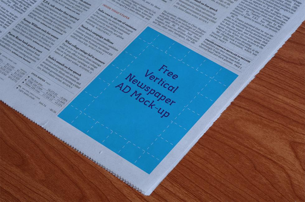 Мокап Вертикальное объявление для газеты