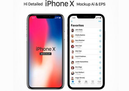 Мокап  Apple X iPhone  в Ai & EPS