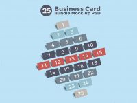 Мокап 25 визитных карточек