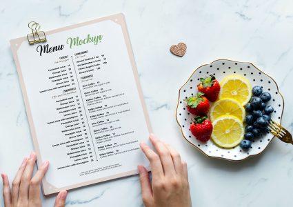 Мокап меню ресторана
