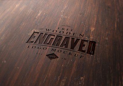 Мокап гравированный логотип