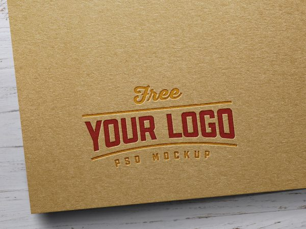 Мокап крафт логотипа